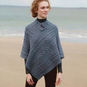 New Irish Asymmetrical Wool Poncho Sweater OS